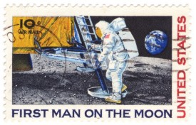 Man on the Moon Stamp (shutterstock_2032778)